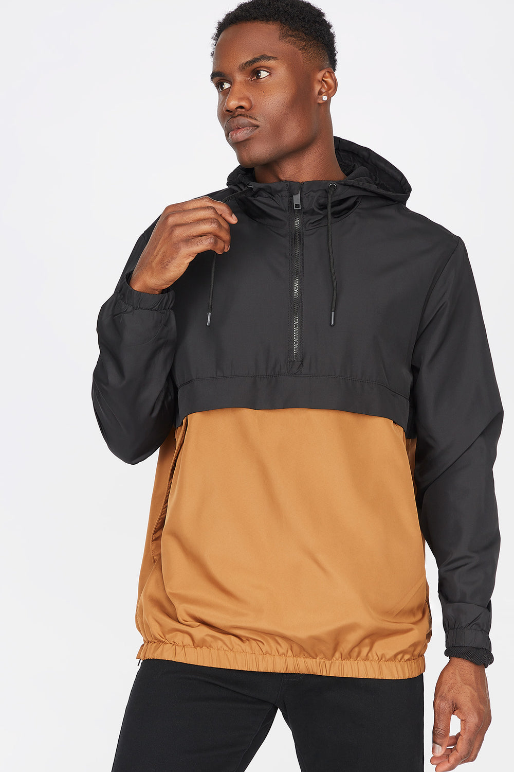 Colour Block Half-Zip Windbreaker Tan