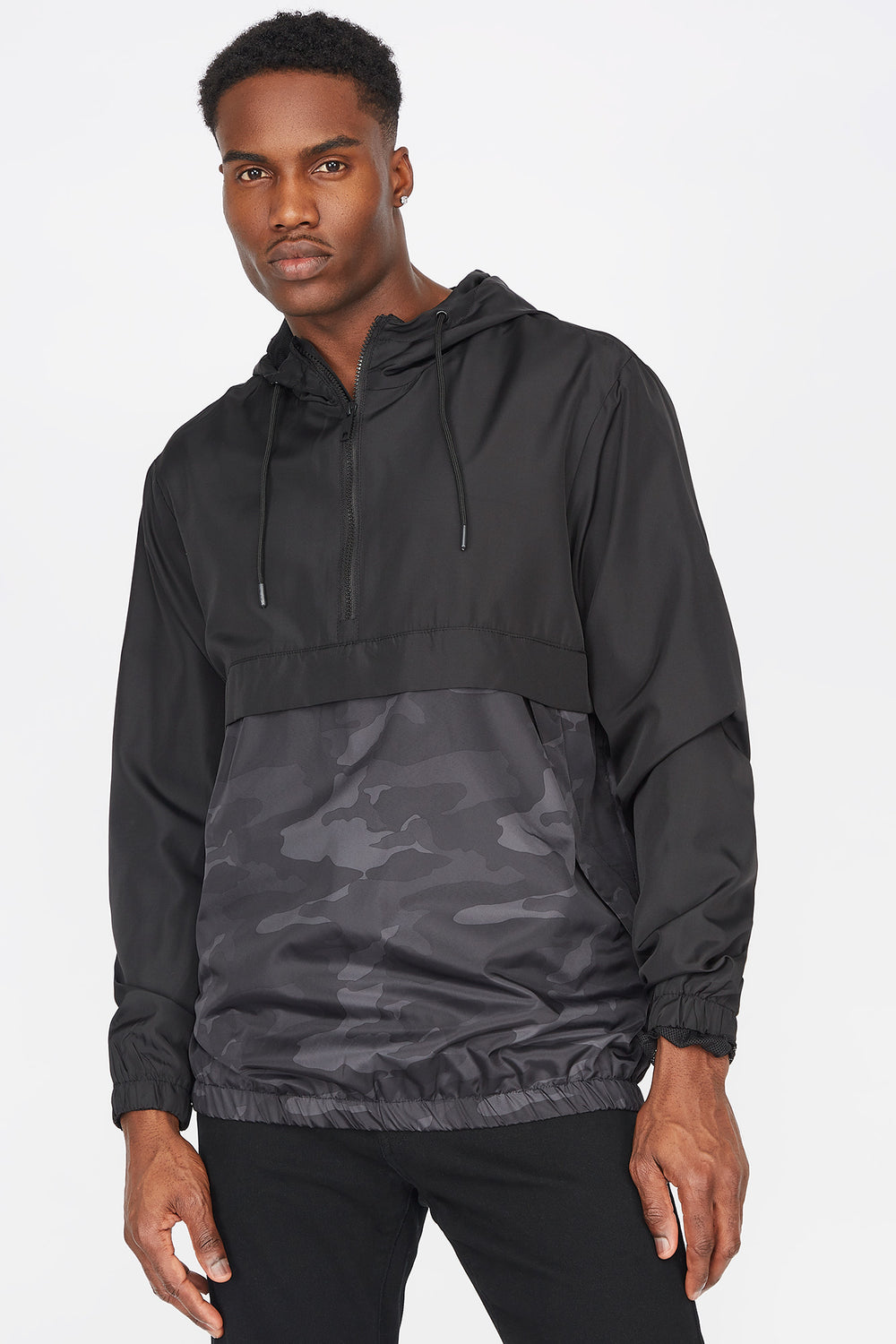 Colour Block Half-Zip Windbreaker Black with White