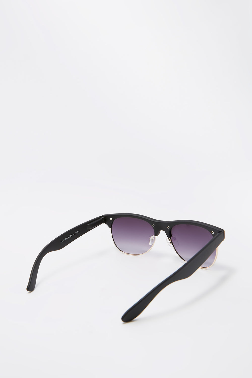 Half-Rim Rounded Square Frame Sunglasses Black