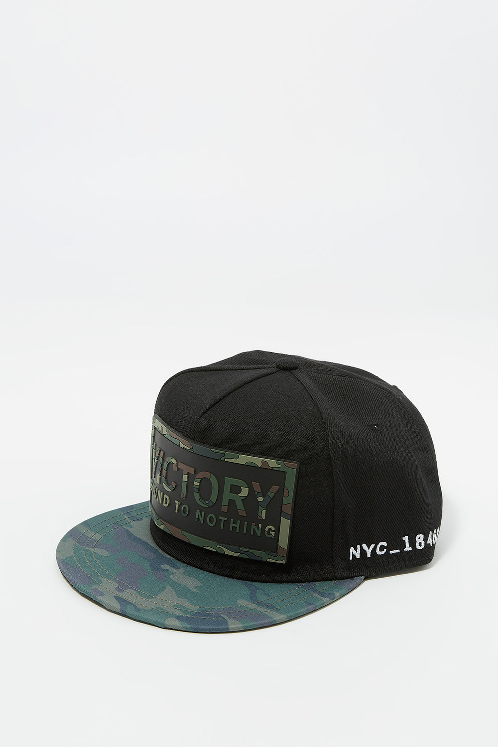 Camo Victory Rubber Graphic Snapback Baseball Hat Camouflage
