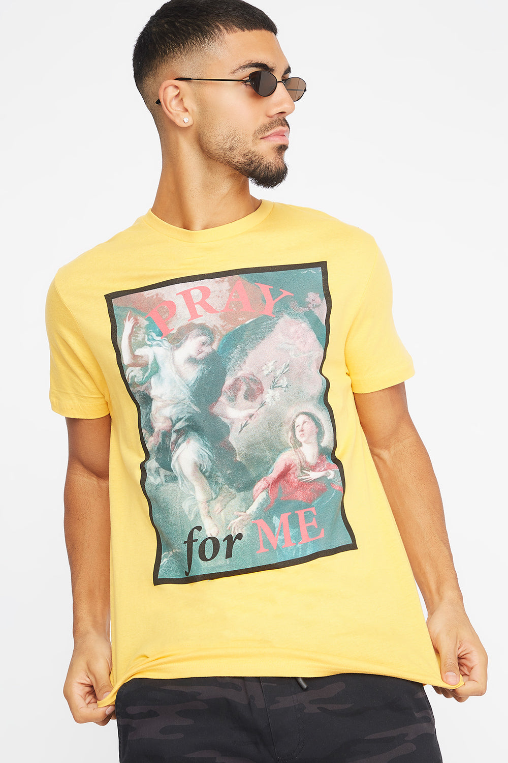 Pray For Me Graphic T-Shirt Yellow
