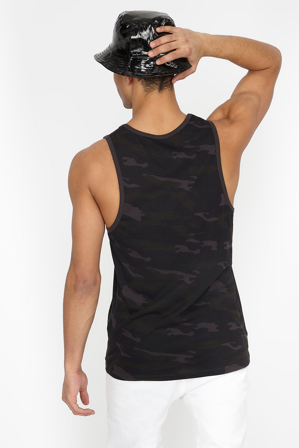 Camo 100 Graphic Tank Black with White