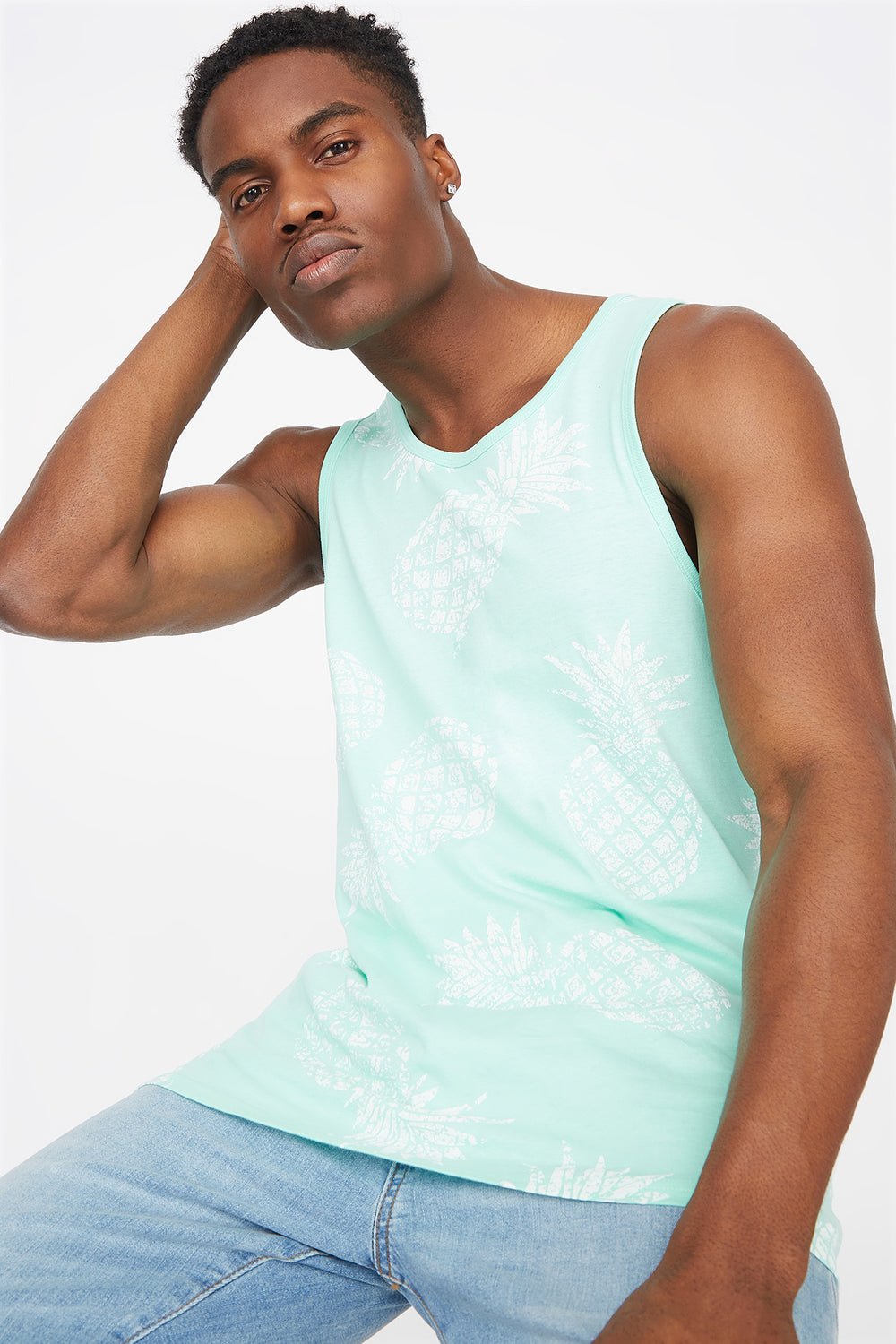 Pineapple Printed Tank Sage