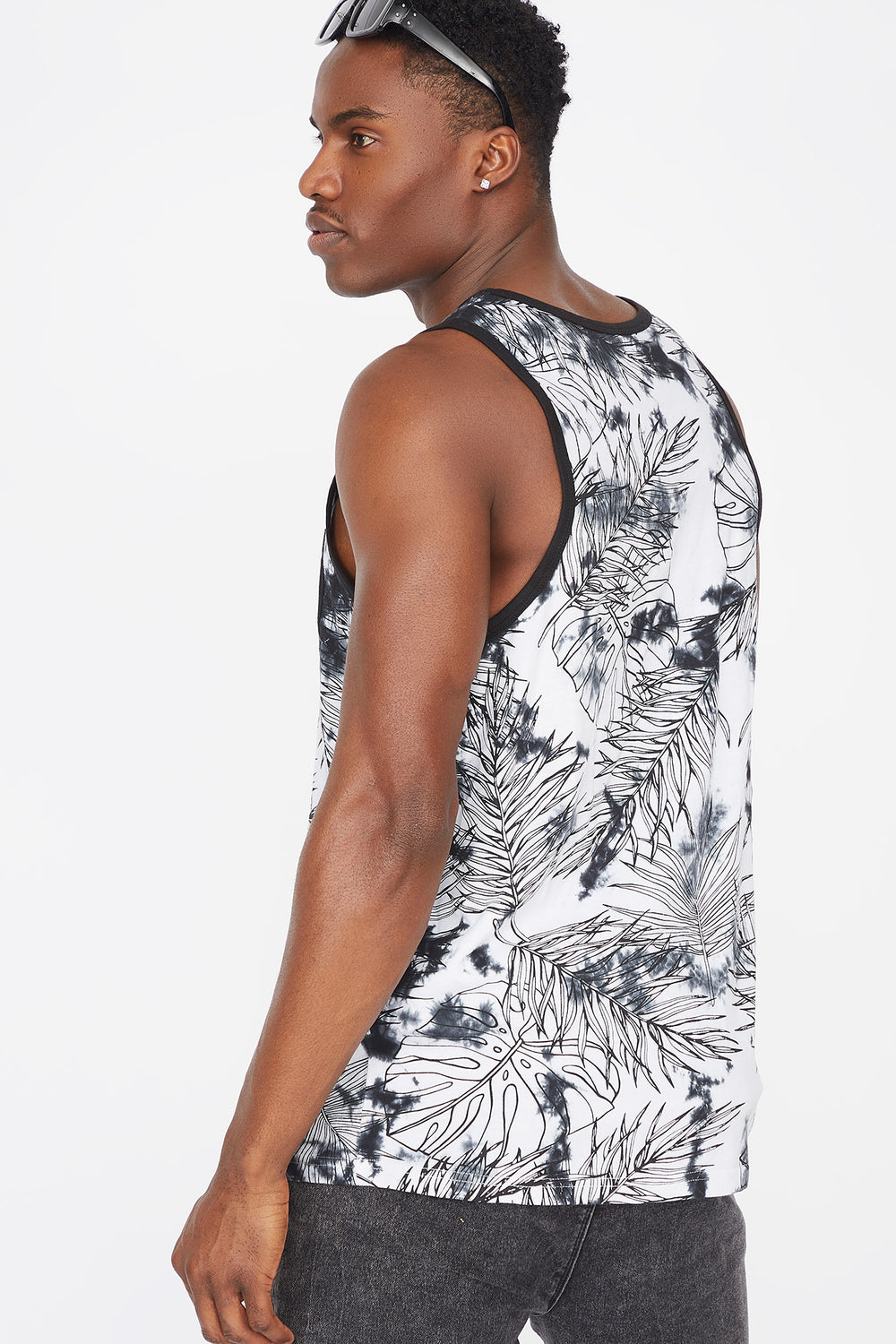 Tie Dye Leaf Printed Pocket Tank Black