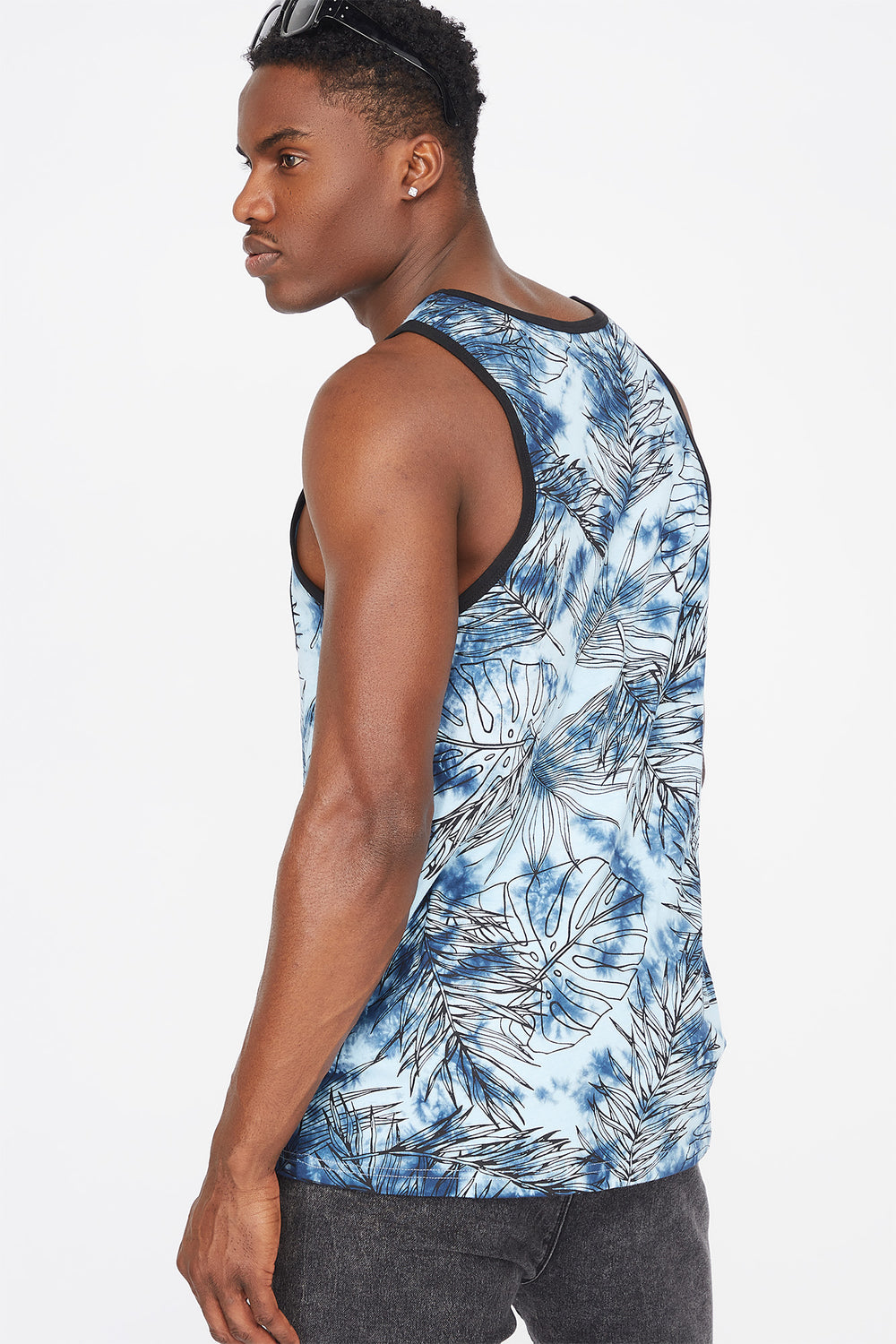 Tie Dye Leaf Printed Pocket Tank Denim Blue
