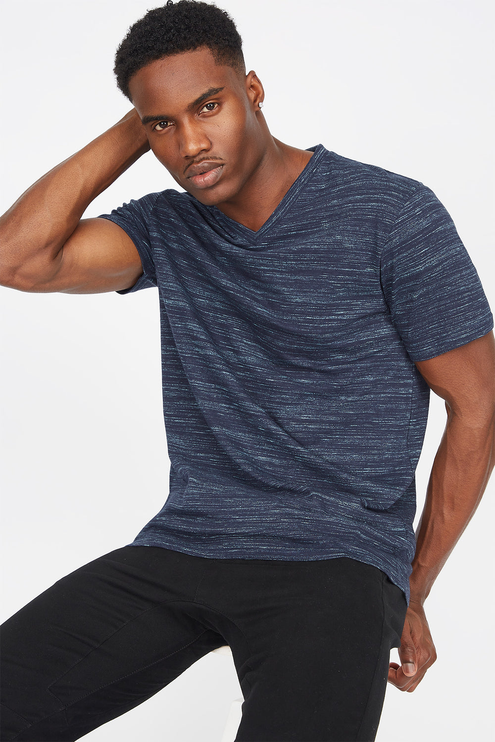Space Dye V-Neck T-Shirt Denim Blue