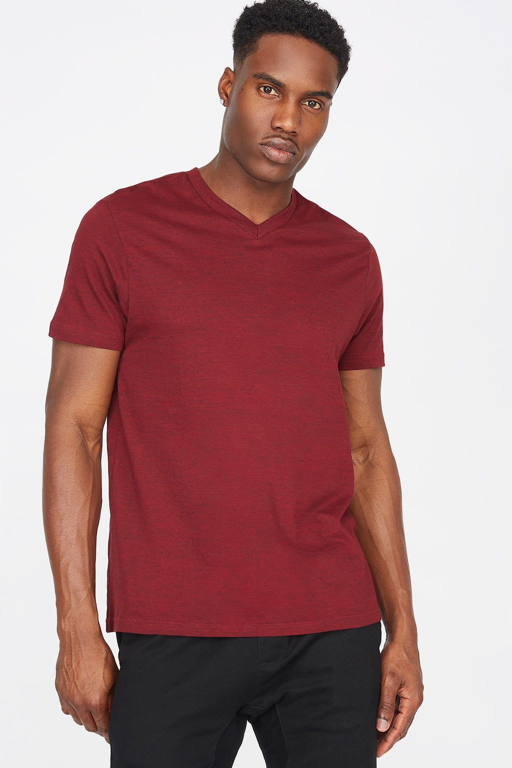 Space Dye V-Neck T-Shirt Burgundy