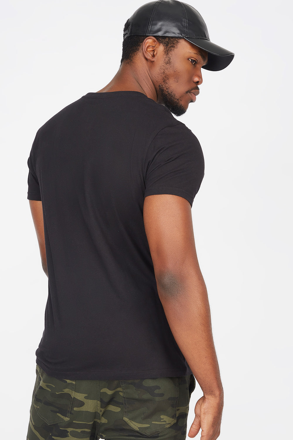 Solid Crew Neck Longline T-Shirt Black