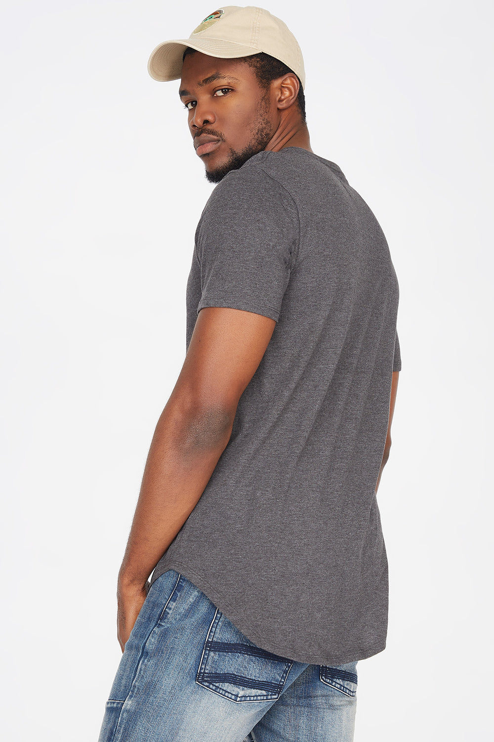 Solid Crew Neck Longline T-Shirt Charcoal