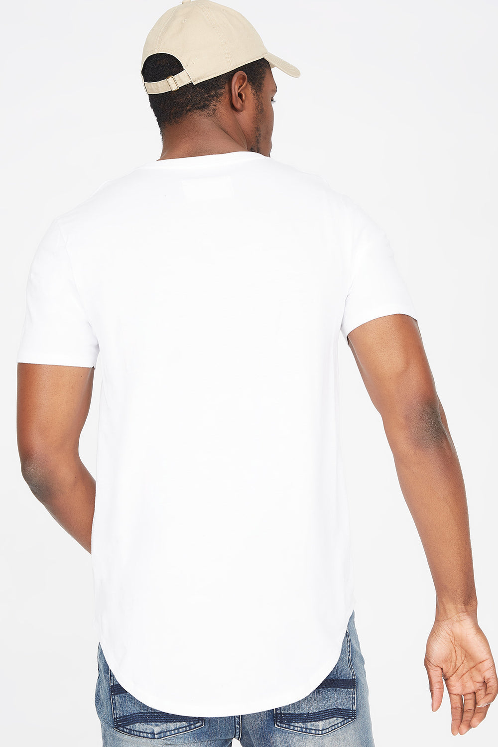 Solid Crew Neck Longline T-Shirt White