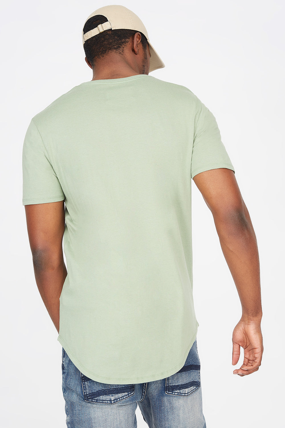 Solid Crew Neck Longline T-Shirt Green