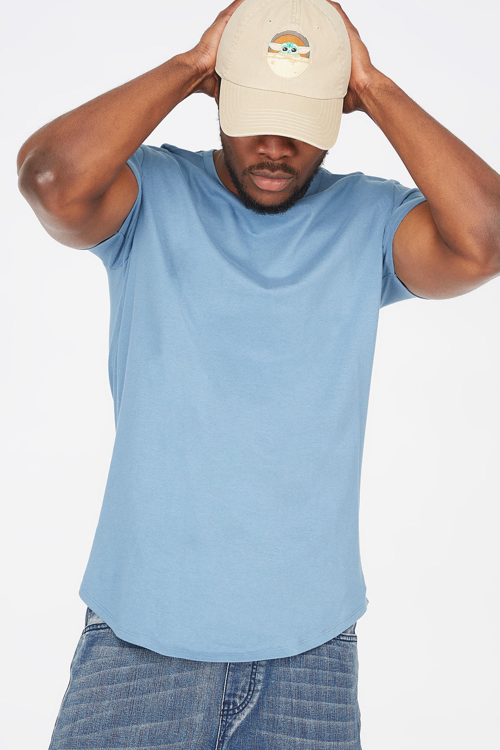 Solid Crew Neck Longline T-Shirt Light Denim Blue