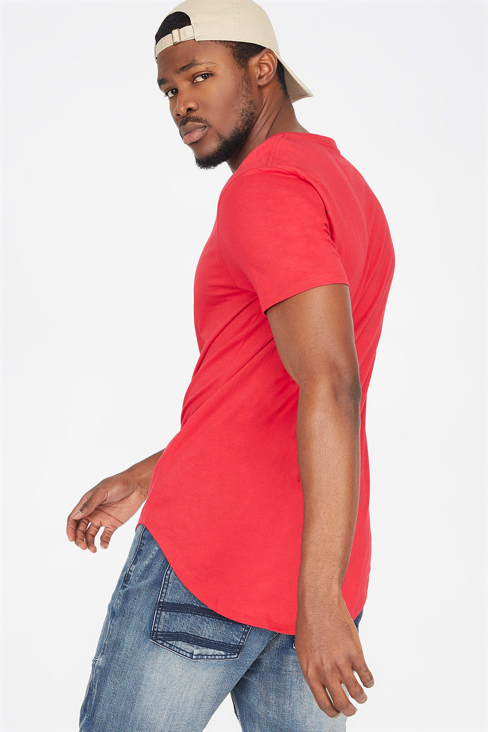Solid Crew Neck Longline T-Shirt Red