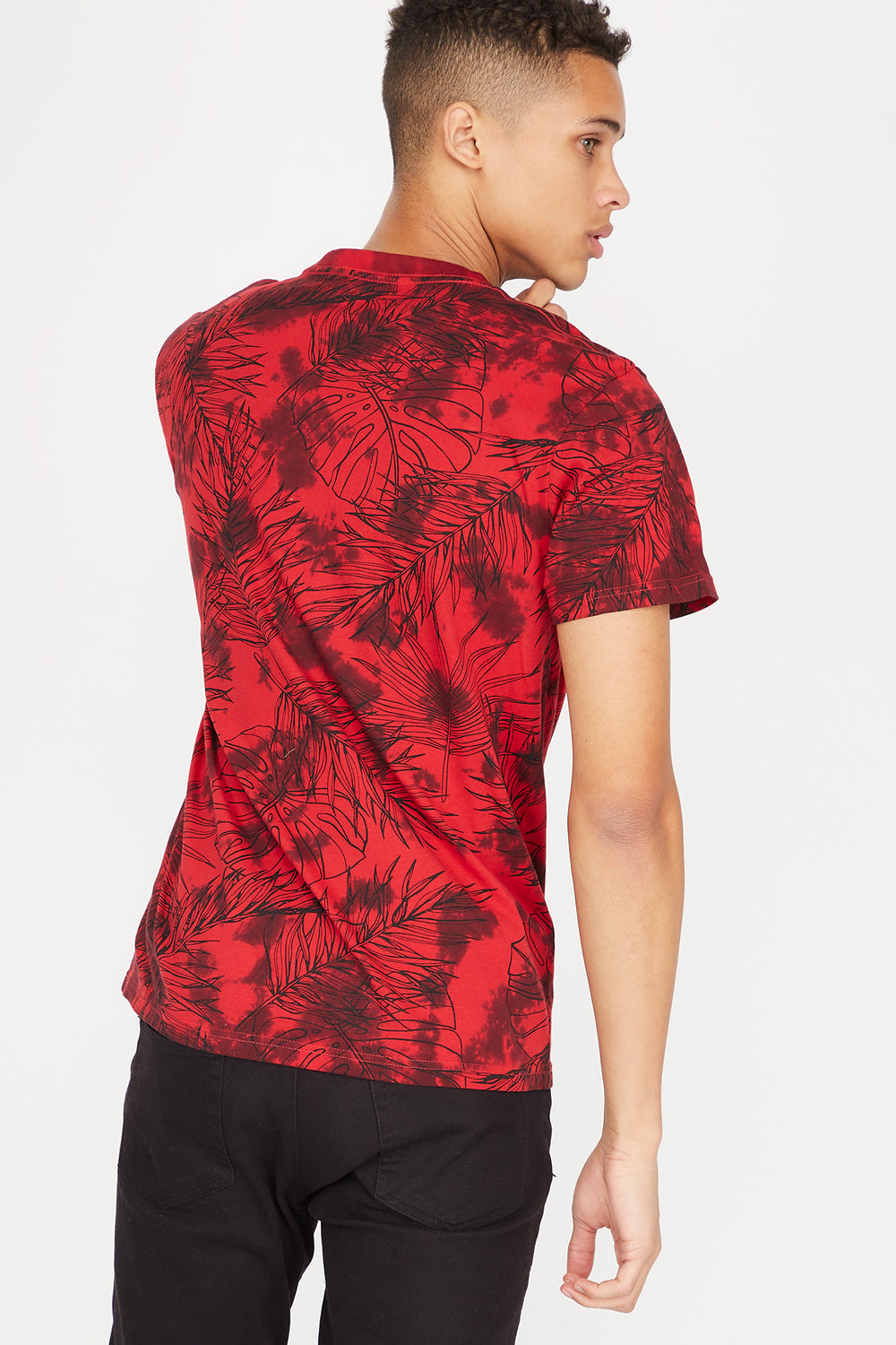 Tie-Dye Palm Leaves Printed Pocket T-Shirt Red