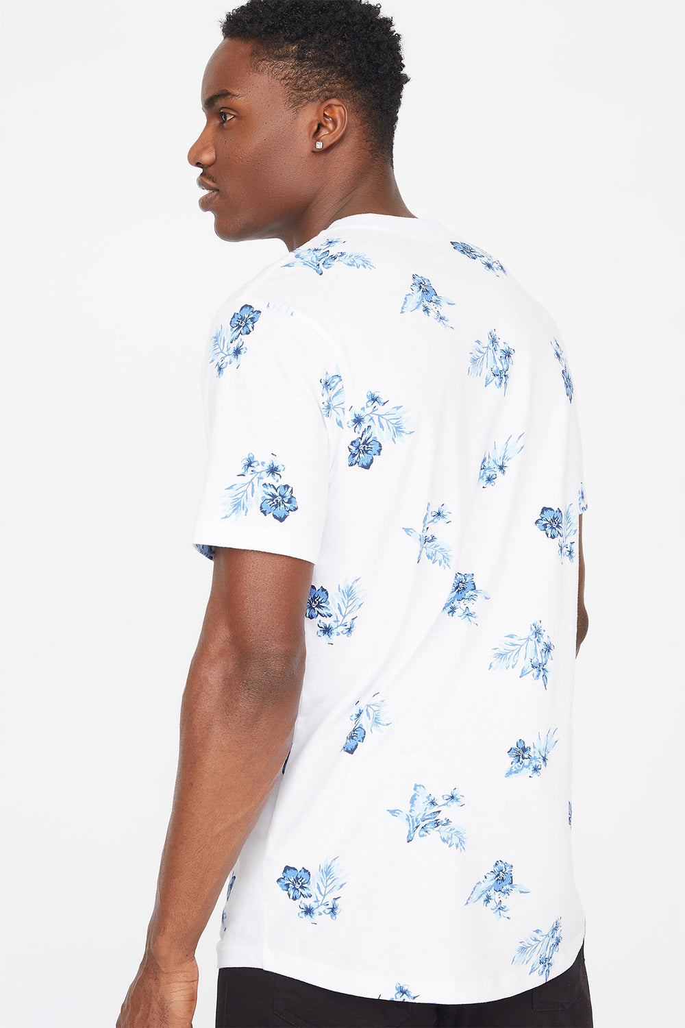 Floral Printed Longline T-Shirt White