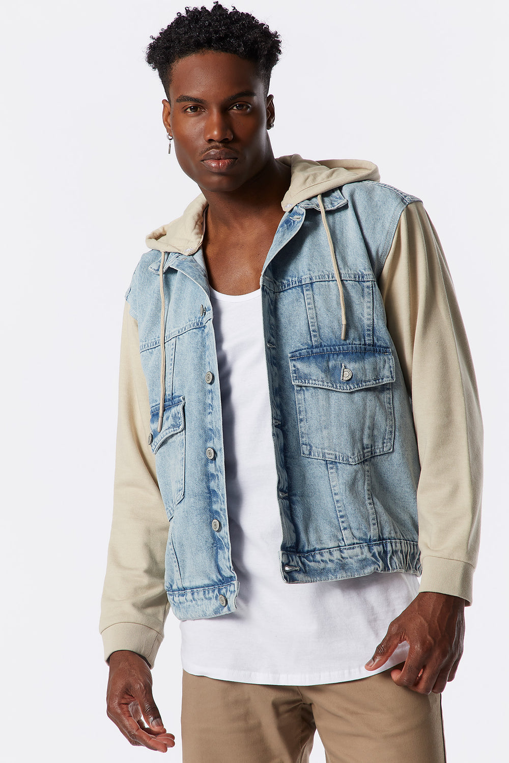Contrast Denim Fleece Jacket With Detachable Hood Light Denim Blue