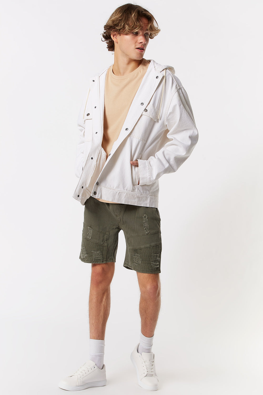 Hooded Denim Jacket Off White
