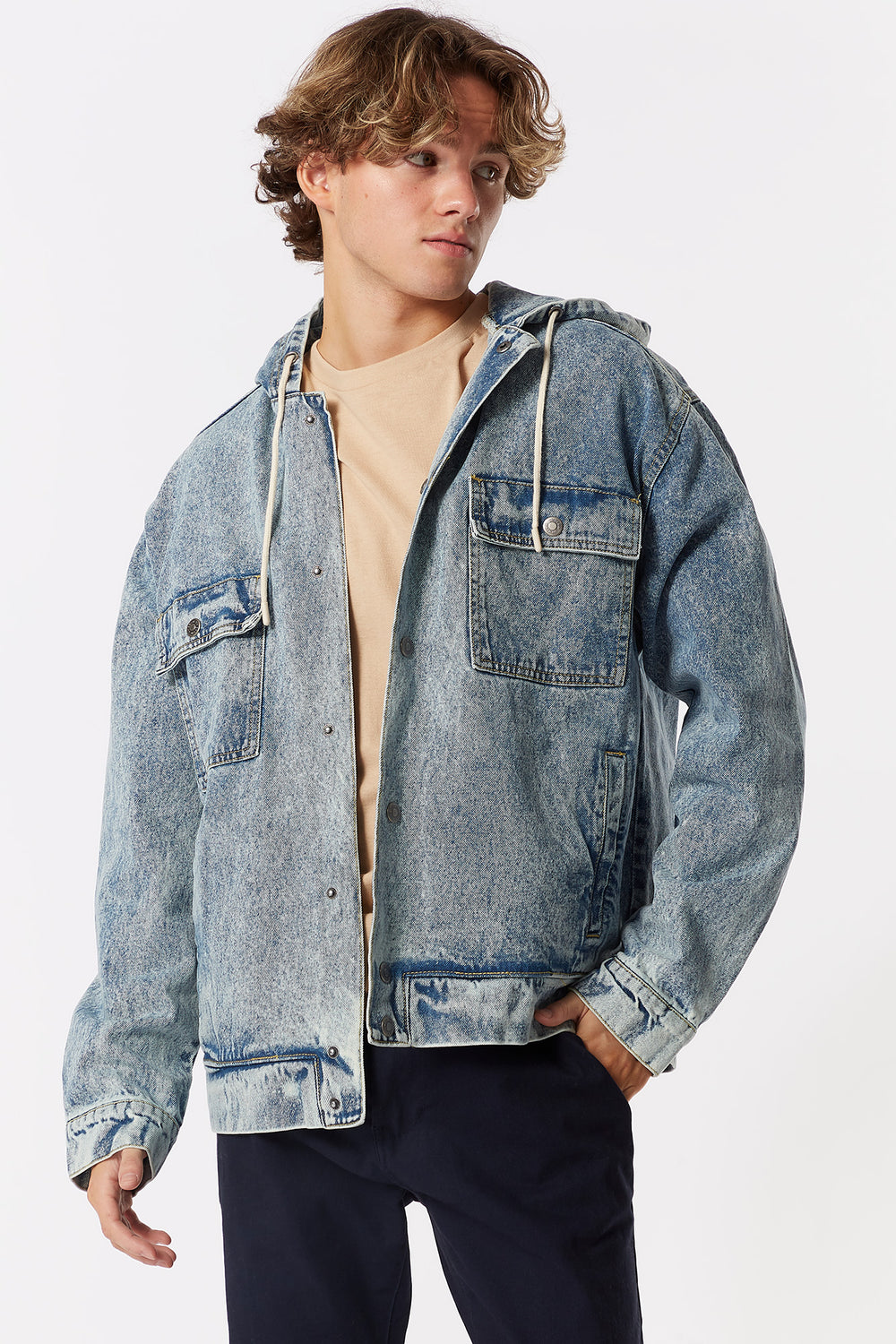 Hooded Denim Jacket Denim Blue