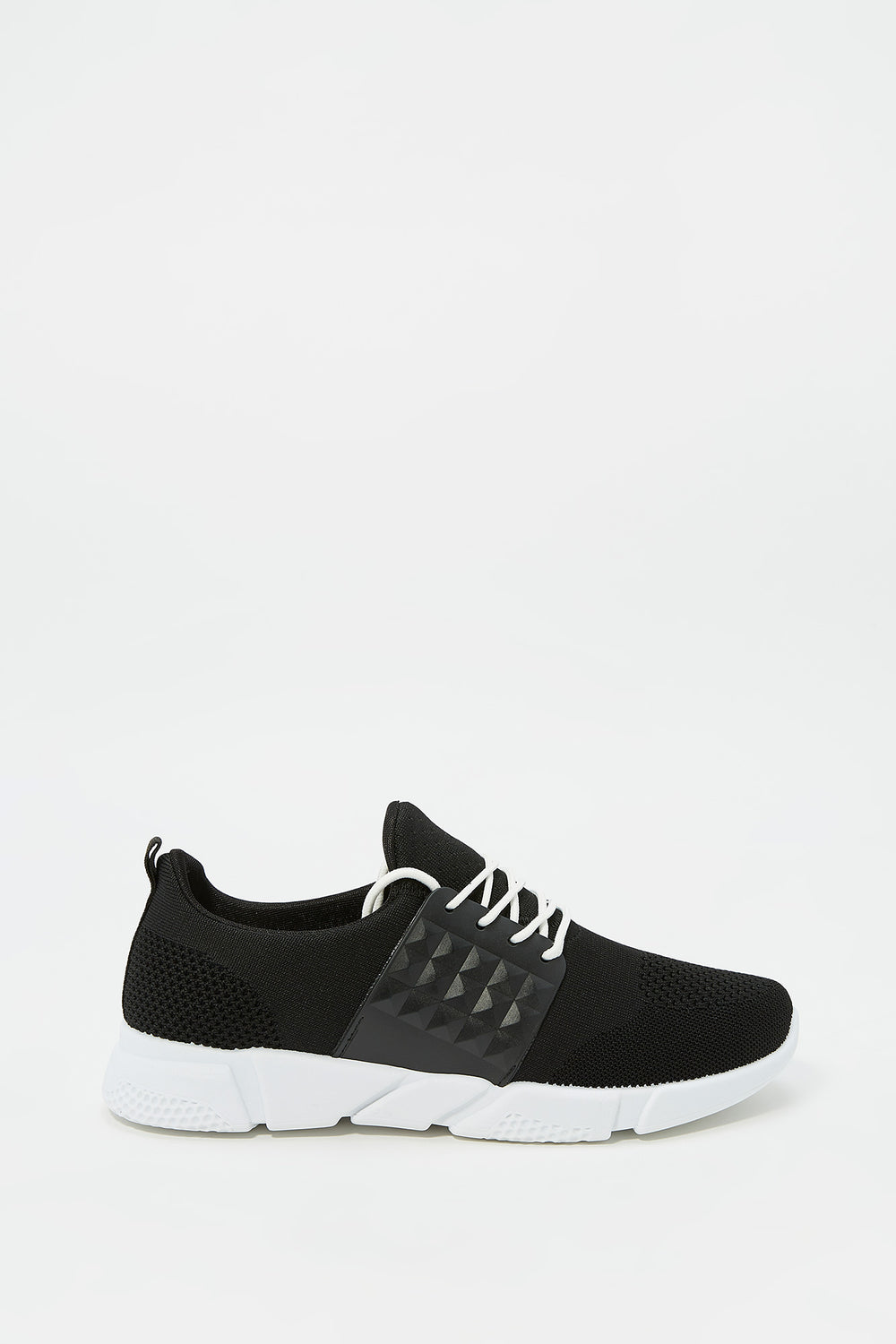 Side Caged Athletic Sneaker Black with White