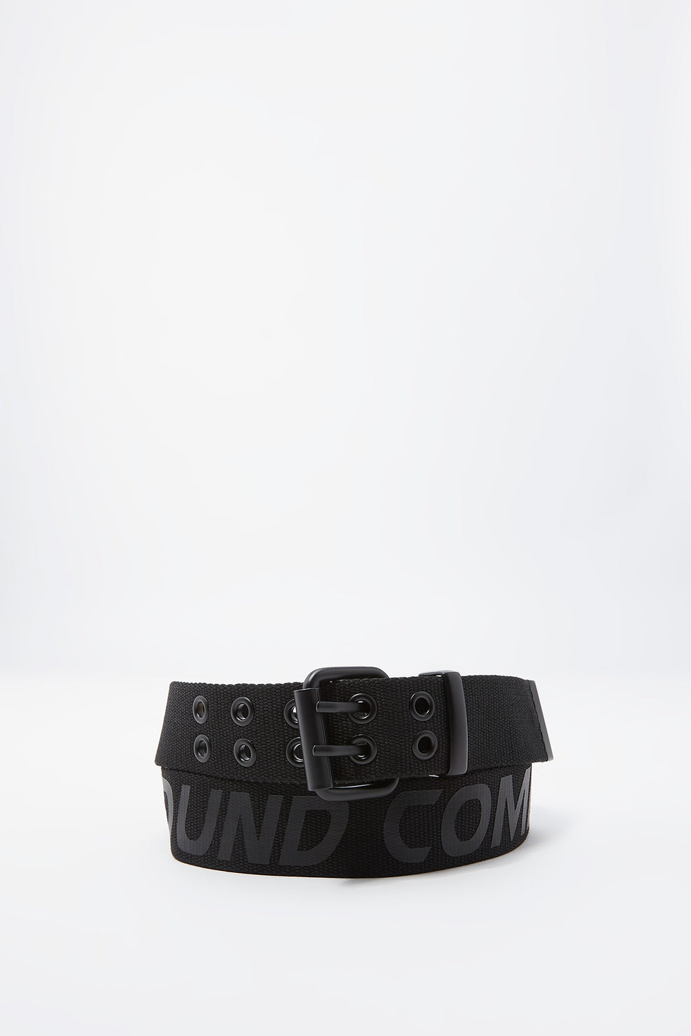What Goes Around Graphic Canvas Buckle Belt Black