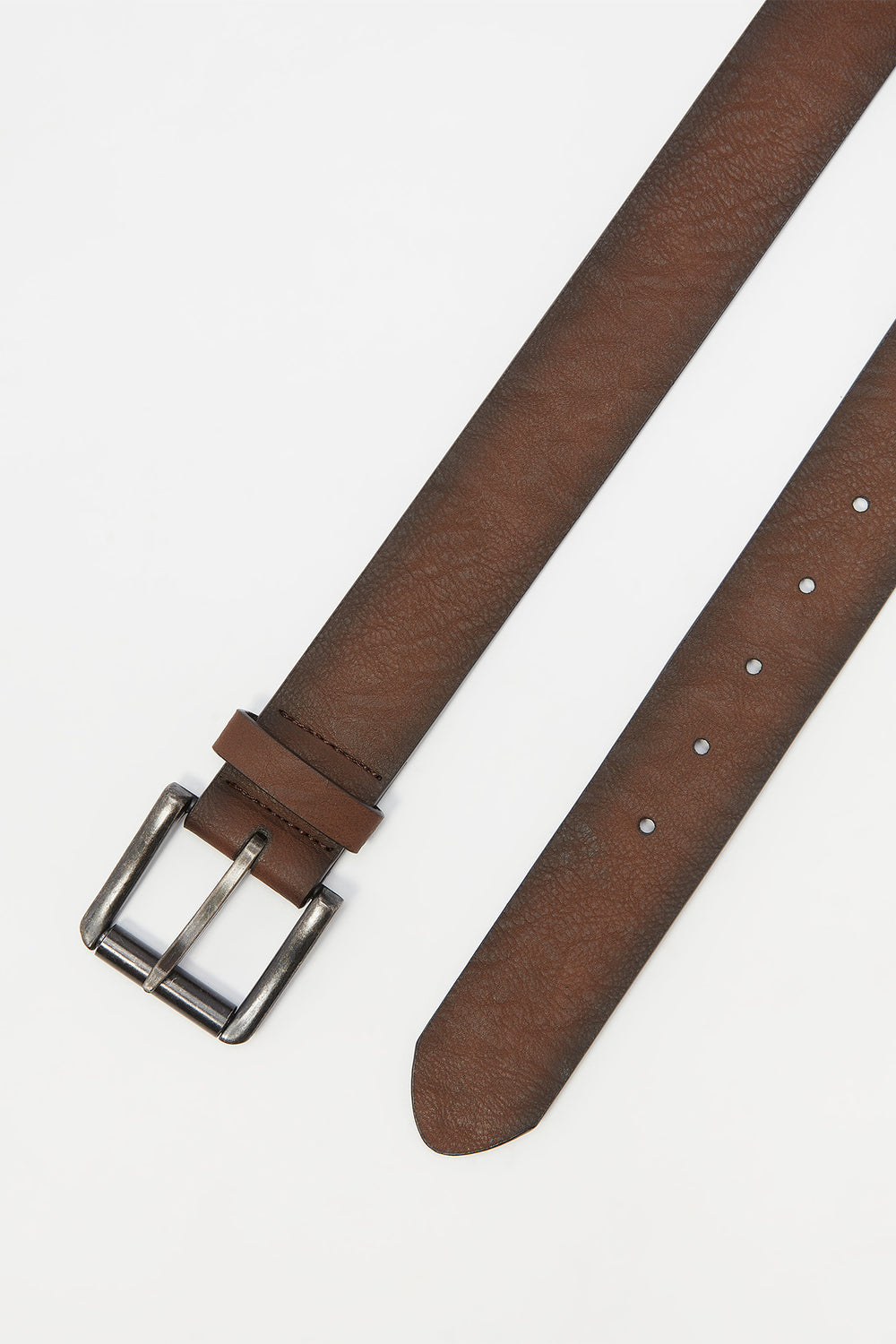 Basic Brown Faux-Leather Buckle Belt Brown
