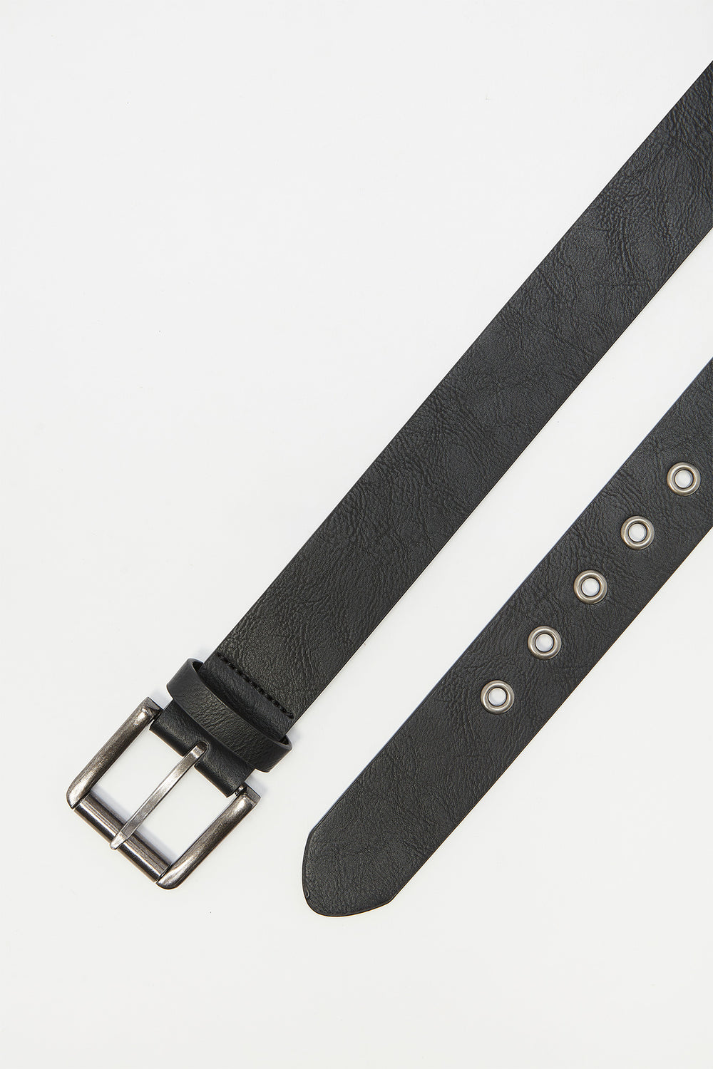 Faux-Leather Grommet Buckle Belt Black