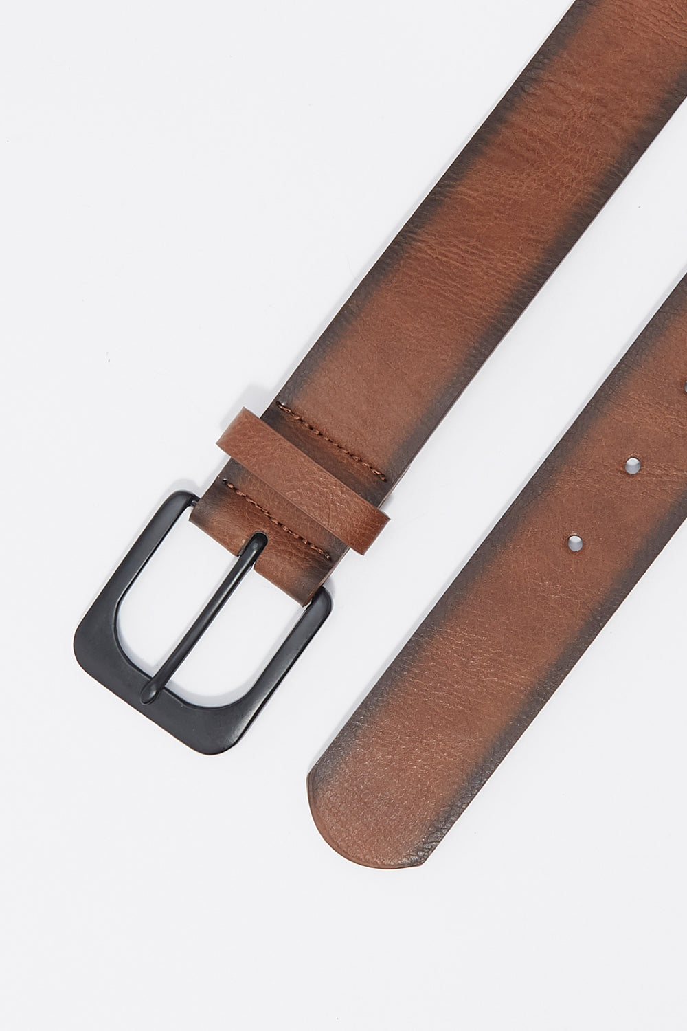 Faux-Leather Basic Buckle Belt Brown