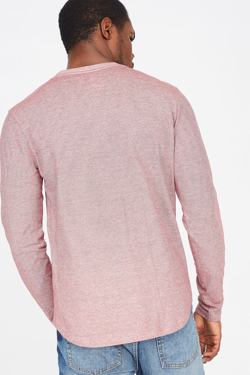 Micro Striped Henley Long Sleeve Top Red