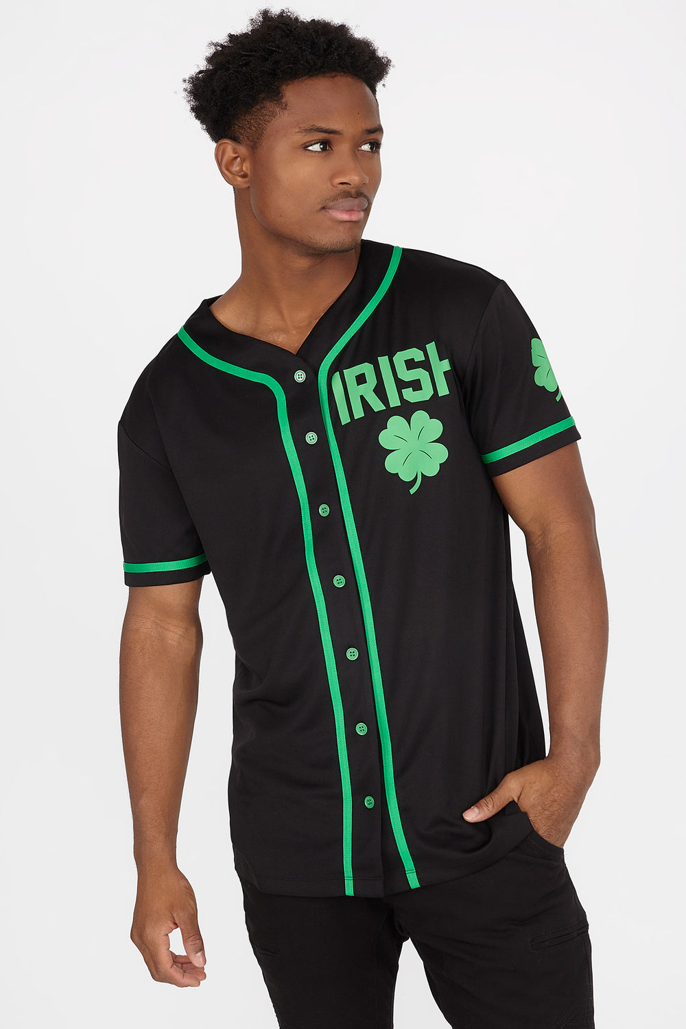 St. Patrick's Day Drinking Team Baseball Jersey Black