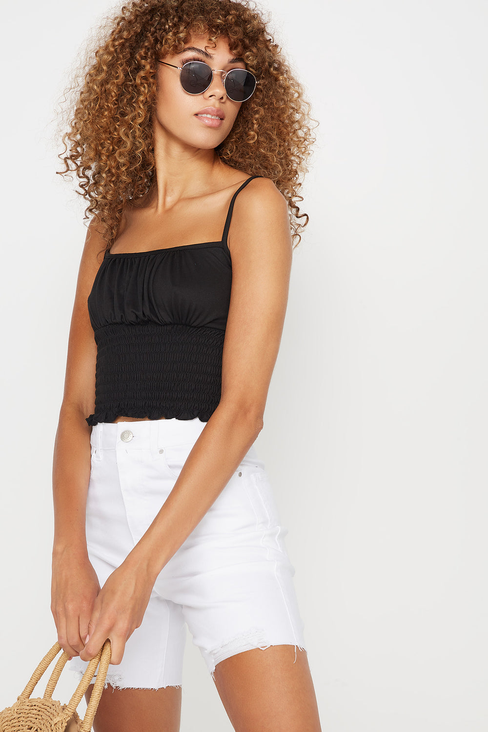 Soft Ruched Smocked Square Neck Tank Black