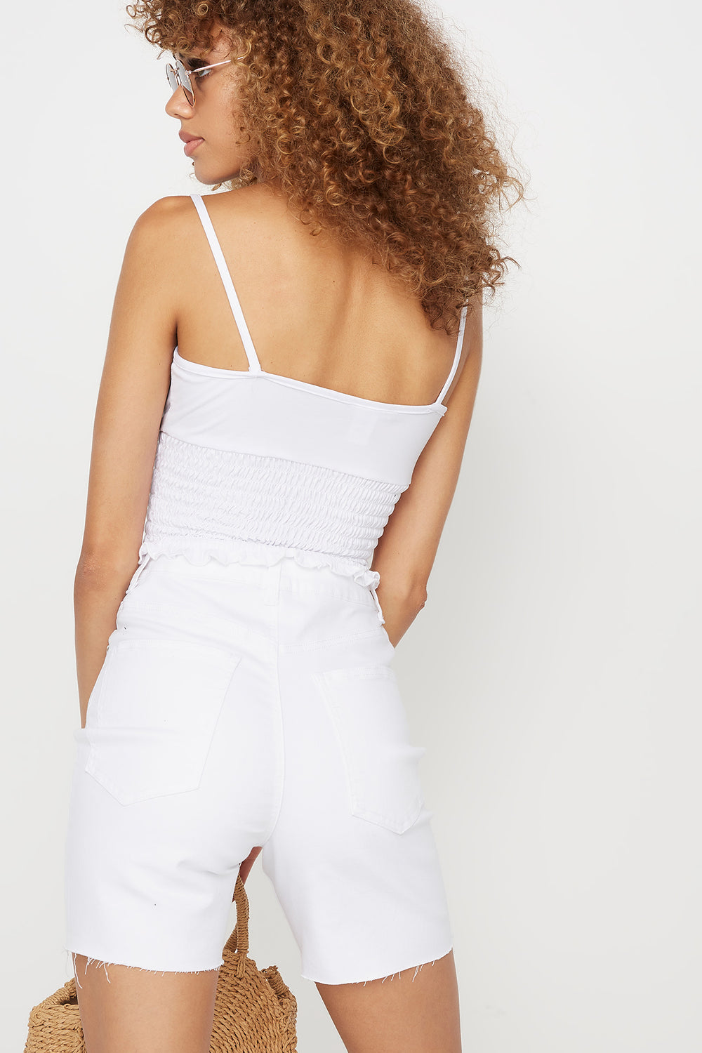 Soft Ruched Smocked Square Neck Tank White
