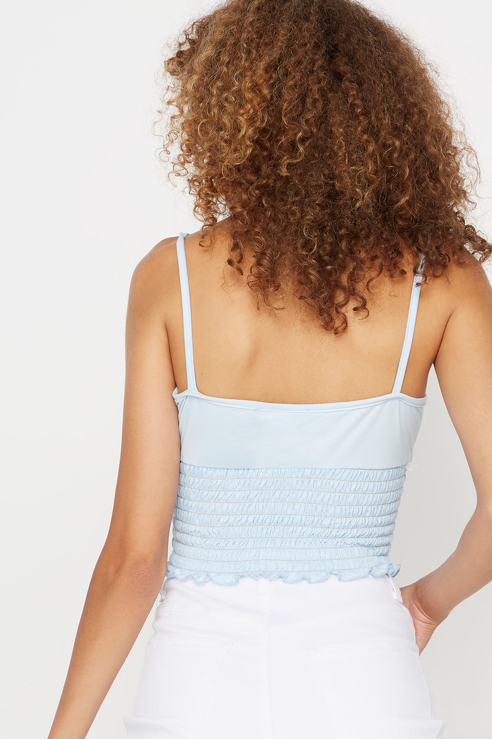 Soft Ruched Smocked Square Neck Tank Light Blue