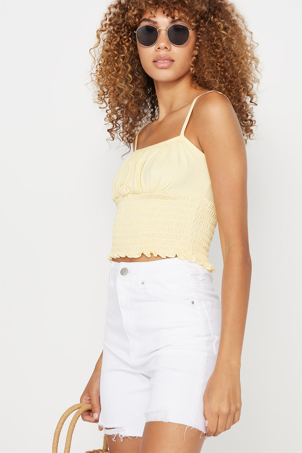 Soft Ruched Smocked Square Neck Tank Yellow