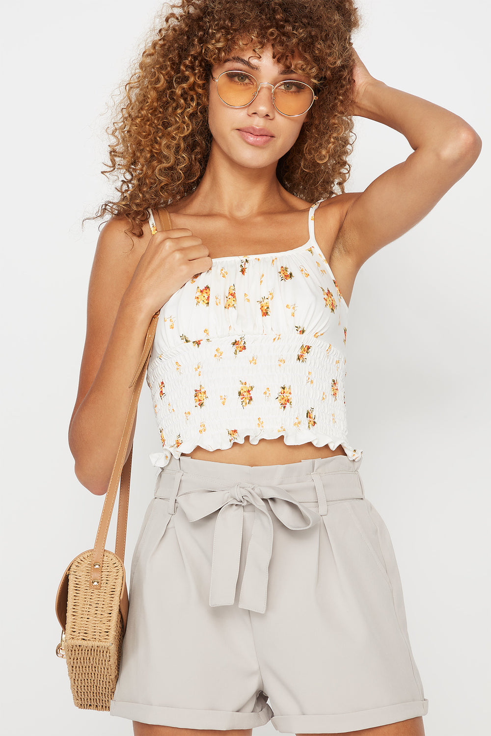 Soft Ruched Smocked Printed Tank White