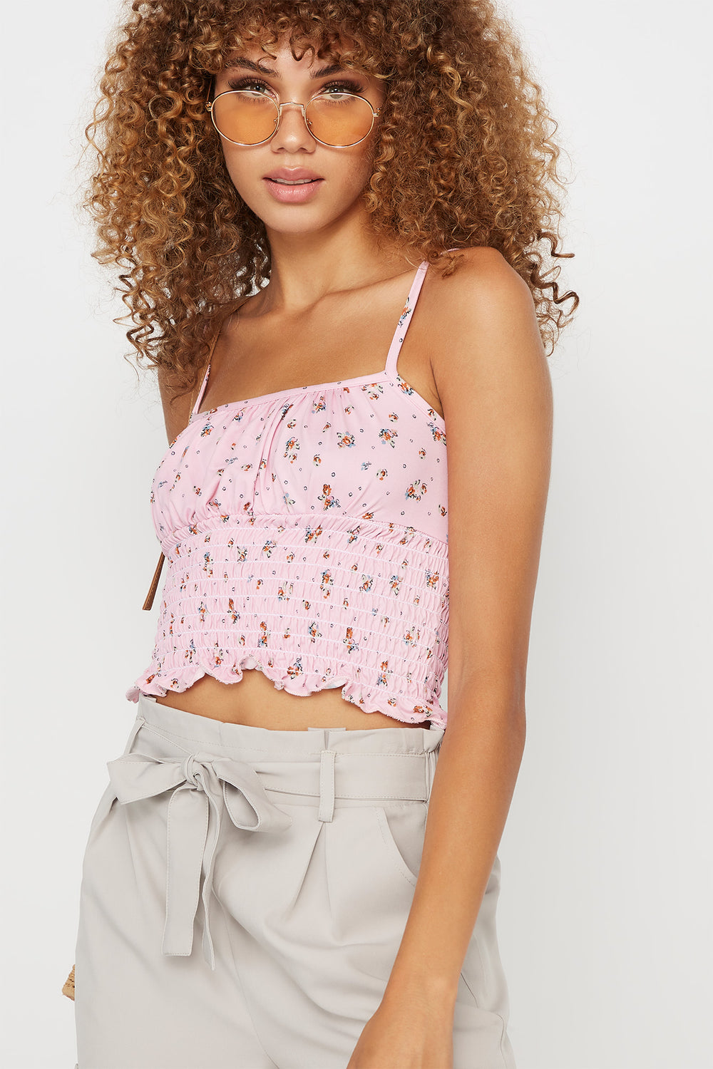 Soft Ruched Smocked Printed Tank Mauve
