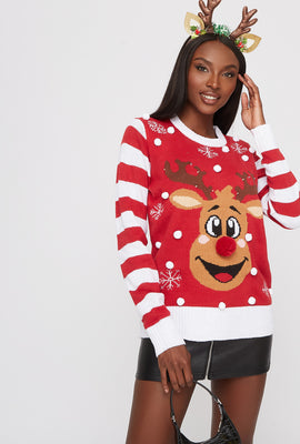 Rudolph Pom Pom Light Up Ugly Christmas Sweater