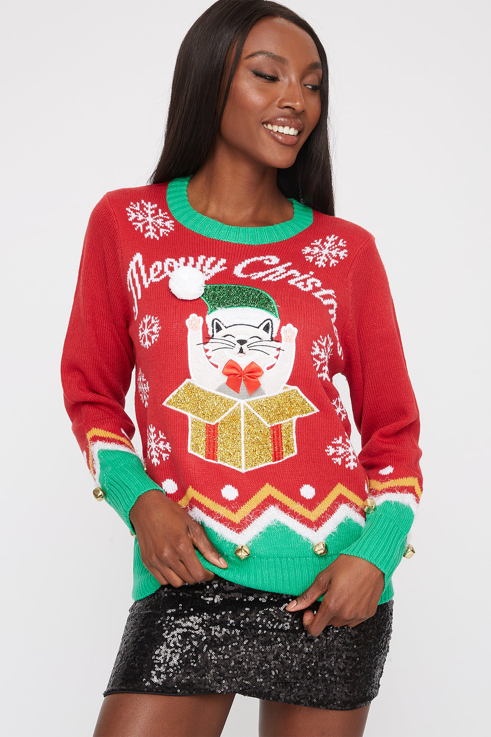 Cat Gift Ugly Christmas Sweater Red LG