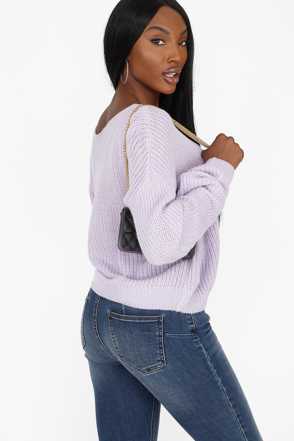 Relaxed Knit Dolman Sleeve Sweater Lilac