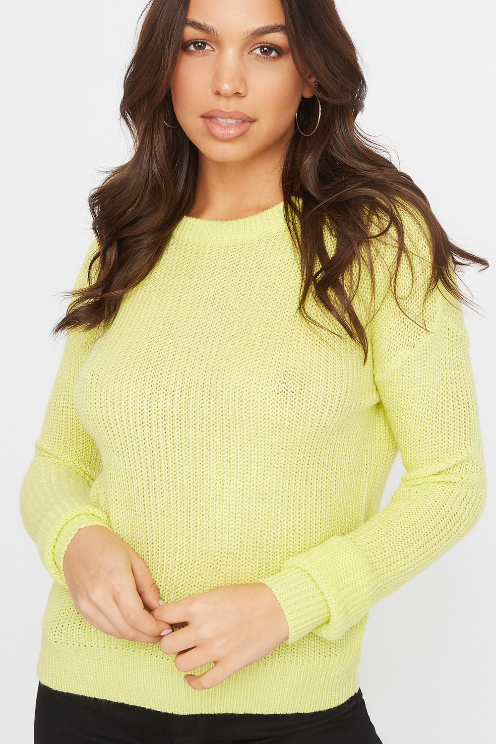 Crew Neck Knit Sweater Neon Yellow