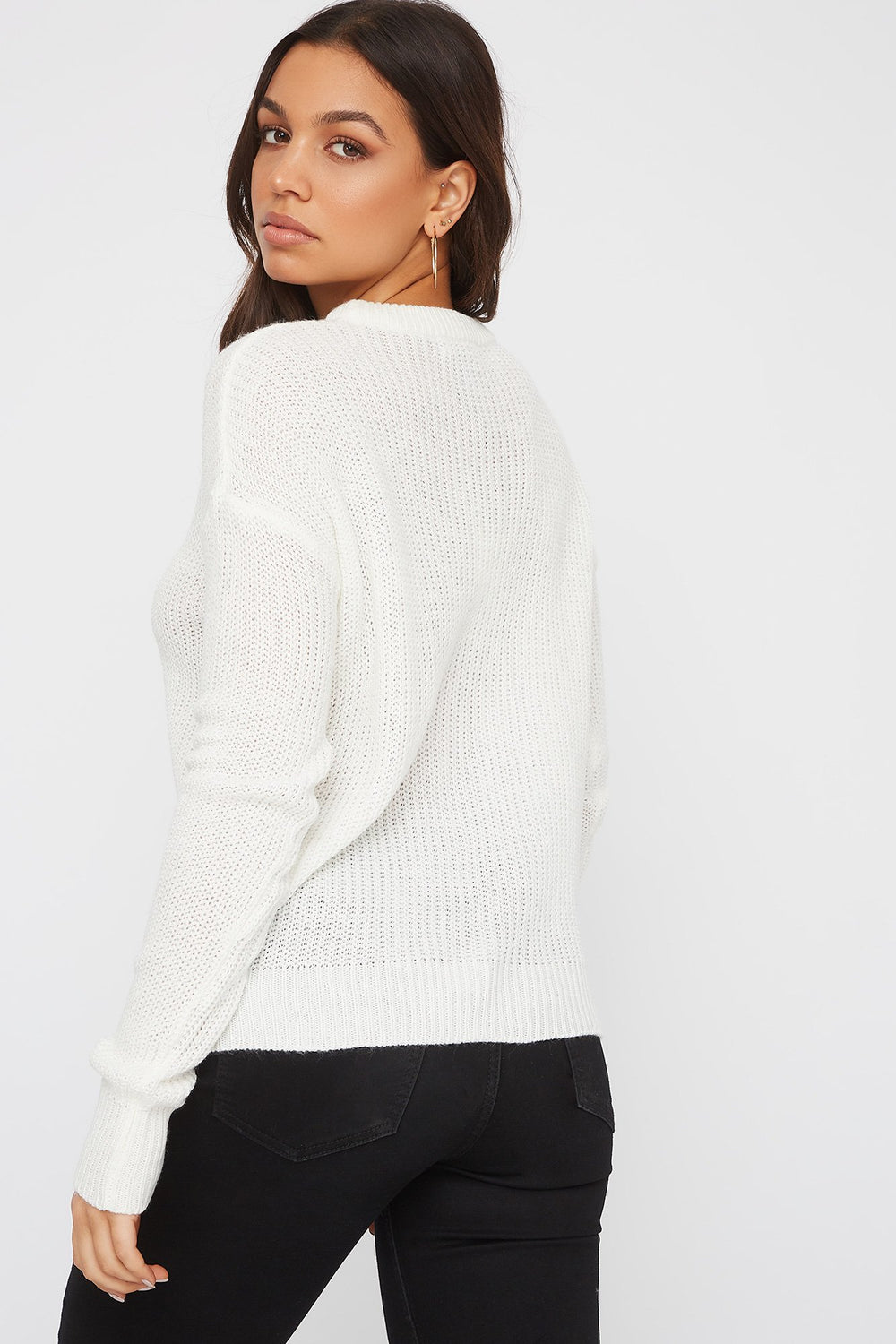 Crew Neck Knit Sweater Ivory