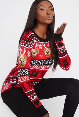 Ugly Christmas Pugs & Kisses Graphic Sweater