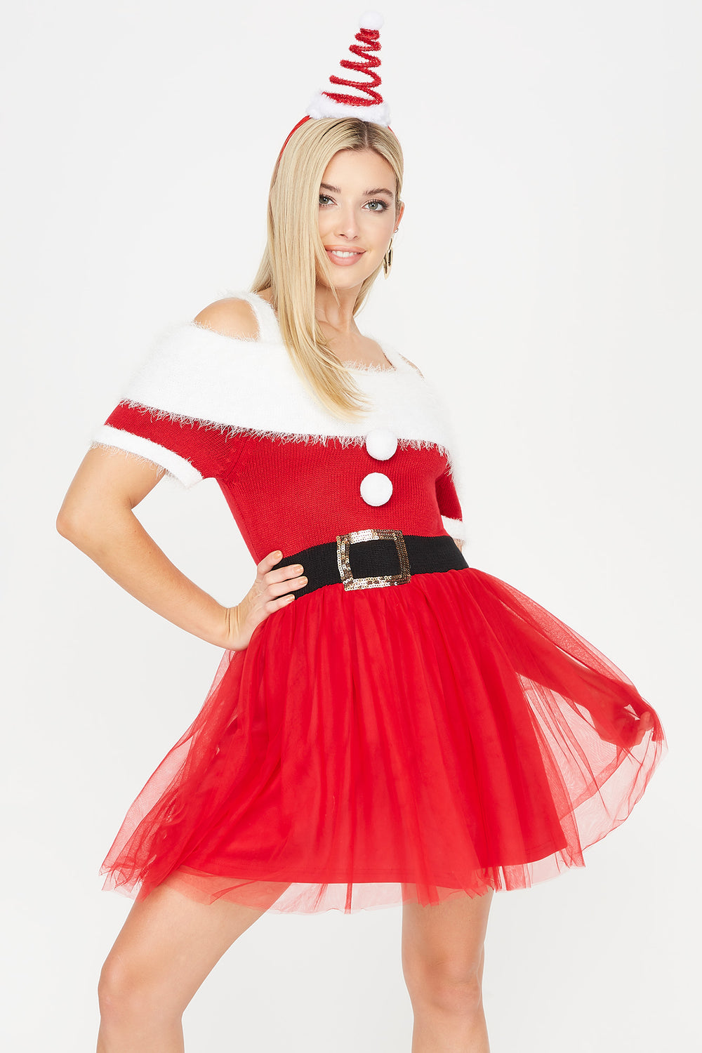 Ugly Christmas Mrs. Claus Tulle Dress Red