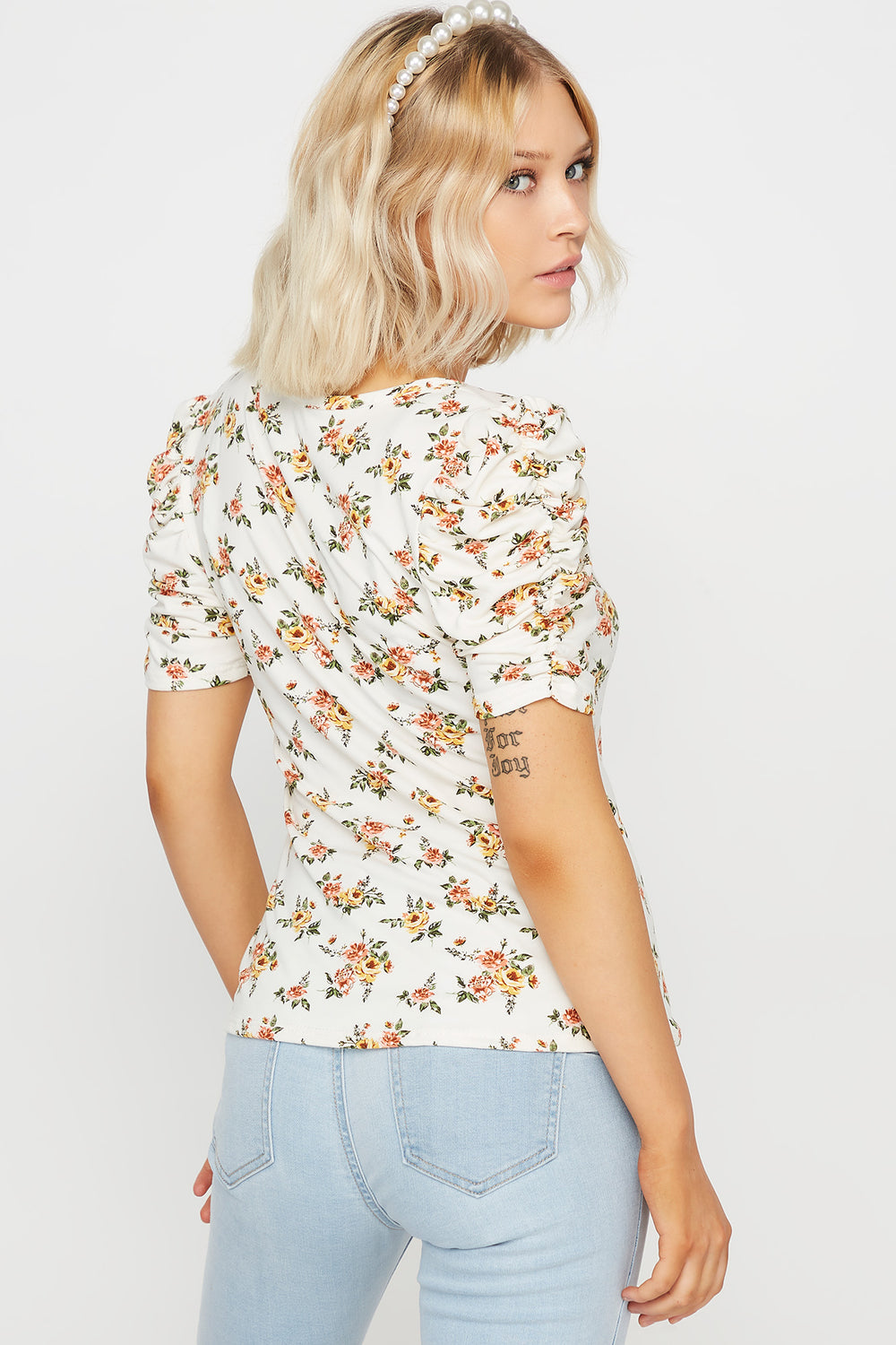 Soft Floral Puff Sleeve Top White