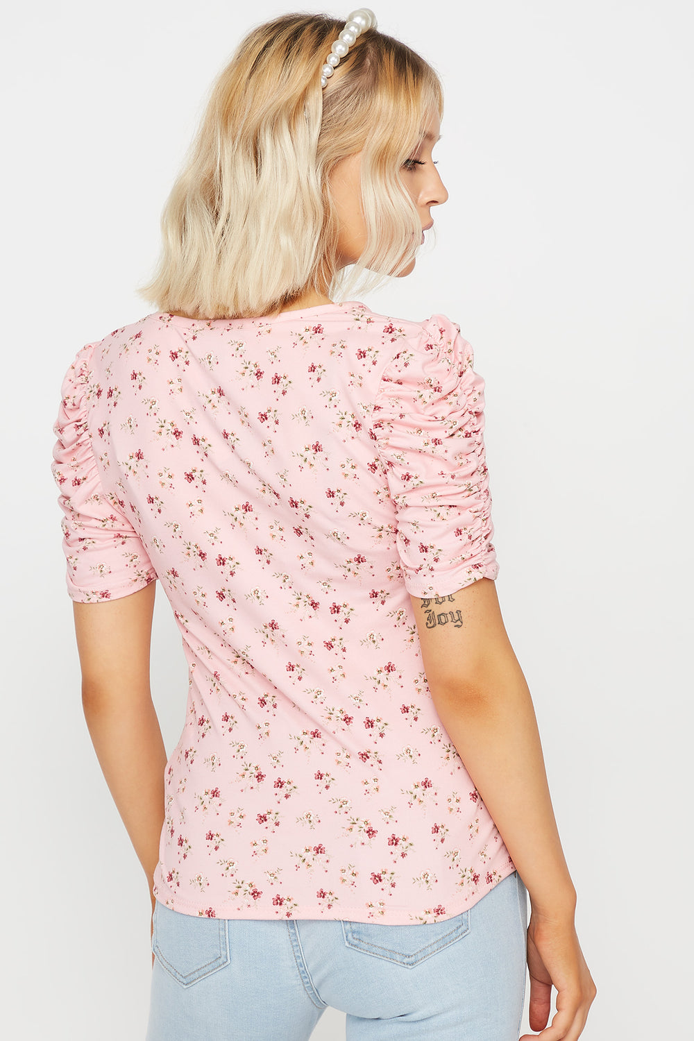Soft Floral Puff Sleeve Top Mauve