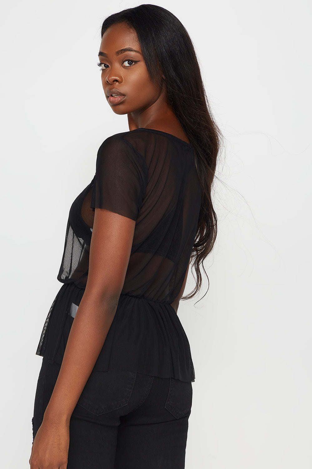 Black Mesh V-Neck Peplum Babydoll Top Black