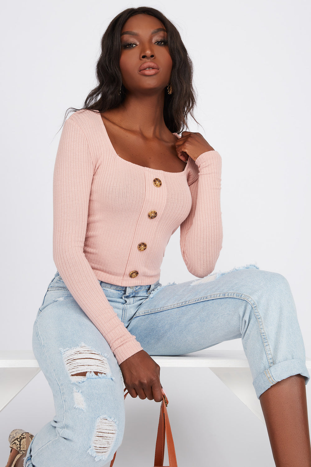 Ribbed Square Neck Button Long Sleeve Pink