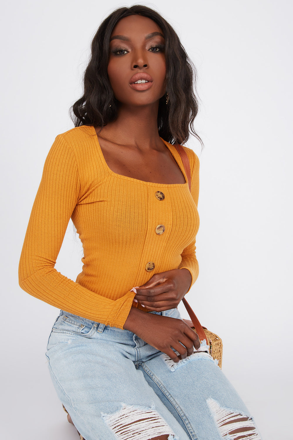 Ribbed Square Neck Button Long Sleeve Yellow