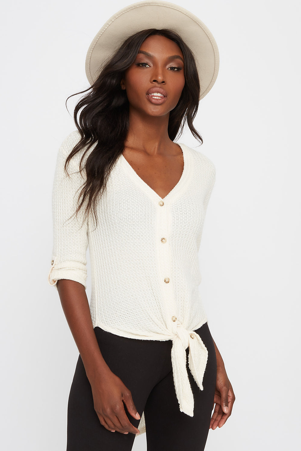 Waffle Button-Up Slit Tie Long Sleeve Ivory