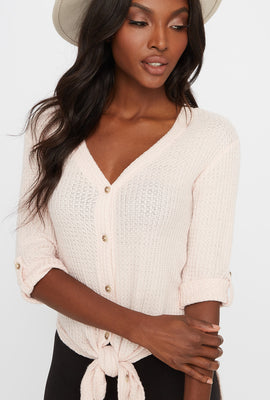 Waffle Button-Up Slit Tie Long Sleeve