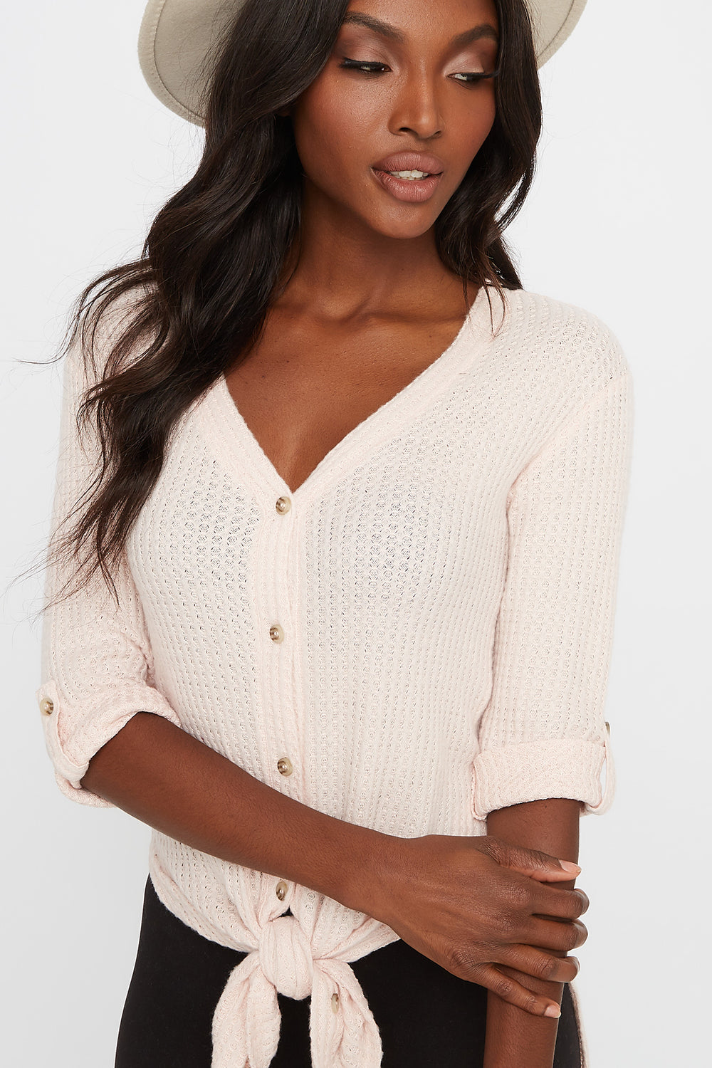Waffle Button-Up Slit Tie Long Sleeve Pink